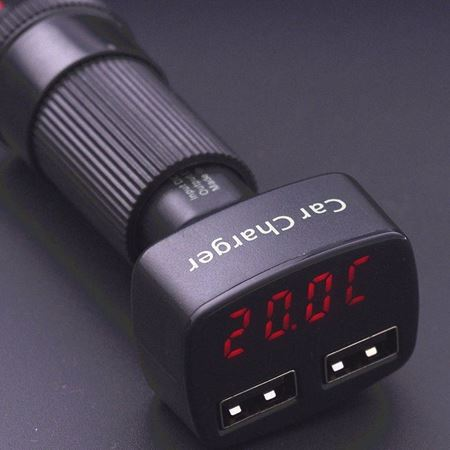 Picture of Car Cigarette Lighter Charger,4 in 1 Dual Ports USB 3.1A, Temperature Display LED