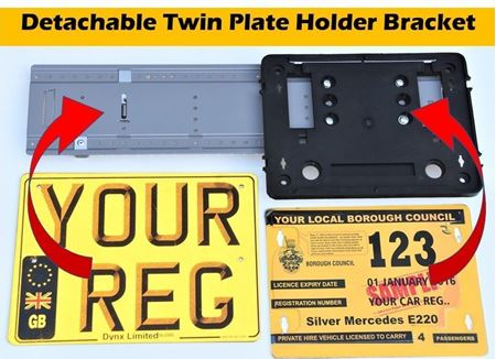 Picture of Complete set of Detachable Twin Plate Holder Platform + Number Plate Printing + Council plate Bracket