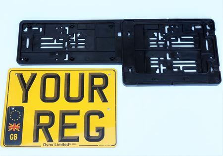 Picture of Printed Square Number Plate and Twin Plate Holder Platform for Taxi, Private Hire & Minicab DVLA & License plate